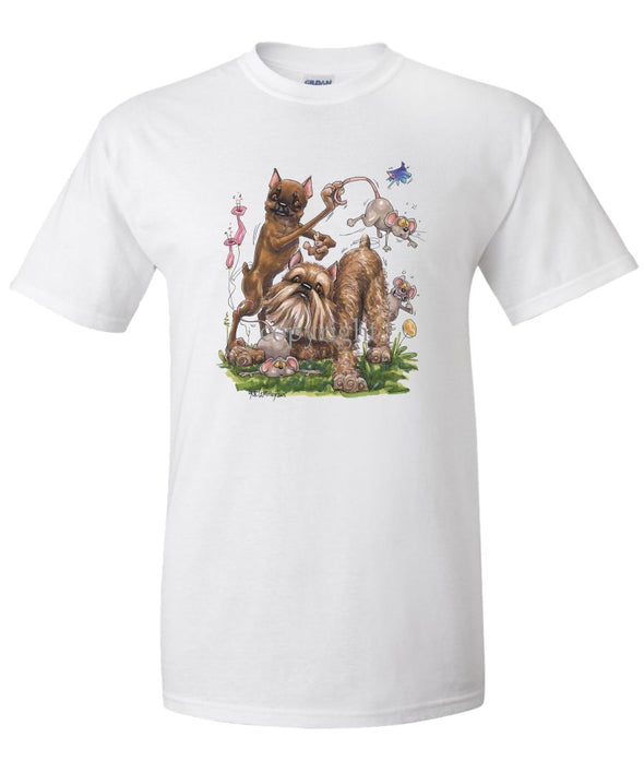 Brussels Griffon - Group With Mice - Caricature - T-Shirt