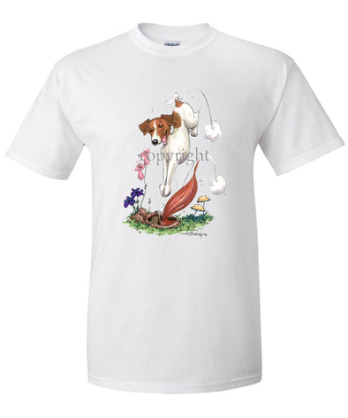 Jack Russell Terrier - Diving After Fox - Caricature - T-Shirt