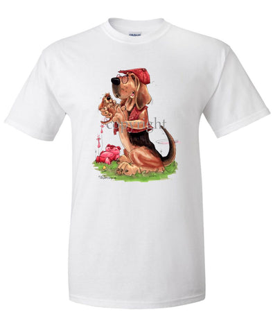 Bloodhound - With-puppy - Caricature - T-Shirt