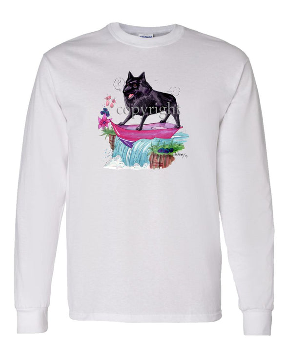 Schipperke - Boat Waterfall - Caricature - Long Sleeve T-Shirt
