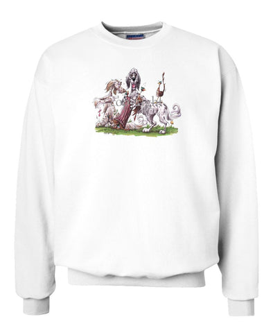 English Setter - Group Hollow Log And Pheasants - Caricature - Sweatshirt