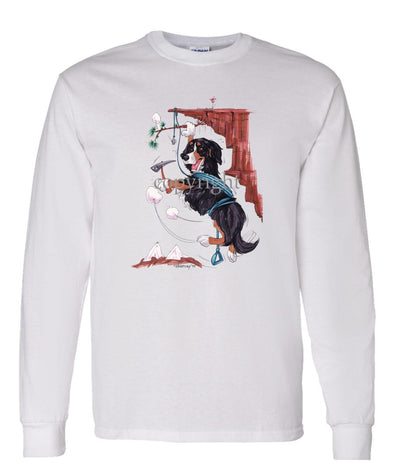 Bernese Mountain Dog - Hanging From Cliff - Caricature - Long Sleeve T-Shirt