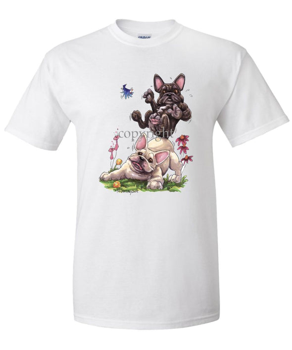 French Bulldog - Group Sitting On Each Other - Caricature - T-Shirt
