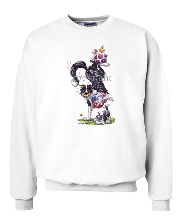 Border Collie - Hand Stand With Toys - Caricature - Sweatshirt
