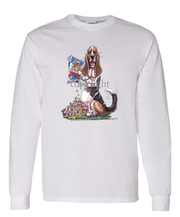 Basset Hound - Cereal Box - Caricature - Long Sleeve T-Shirt