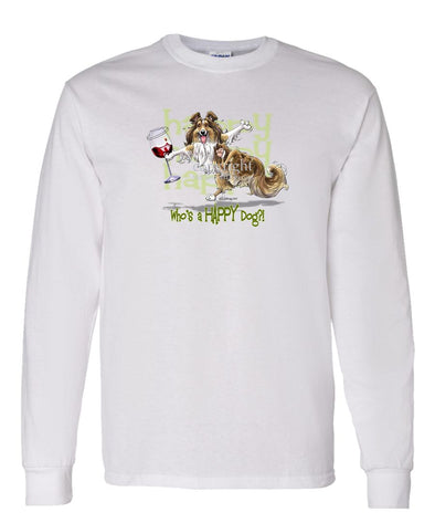 Shetland Sheepdog - 2 - Who's A Happy Dog - Long Sleeve T-Shirt
