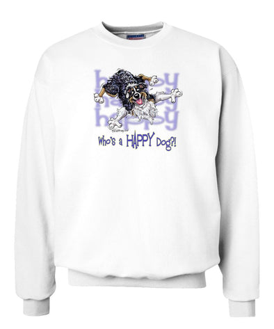 Australian Shepherd  Black Tri - Who's A Happy Dog - Sweatshirt