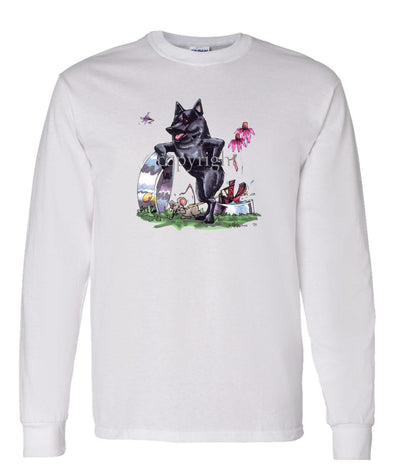 Schipperke - Standing With Dish - Caricature - Long Sleeve T-Shirt