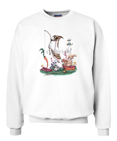Whippet - Fishing With Carrot - Caricature - Sweatshirt