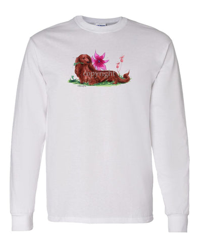 Dachshund  Longhaired - With Flower - Caricature - Long Sleeve T-Shirt