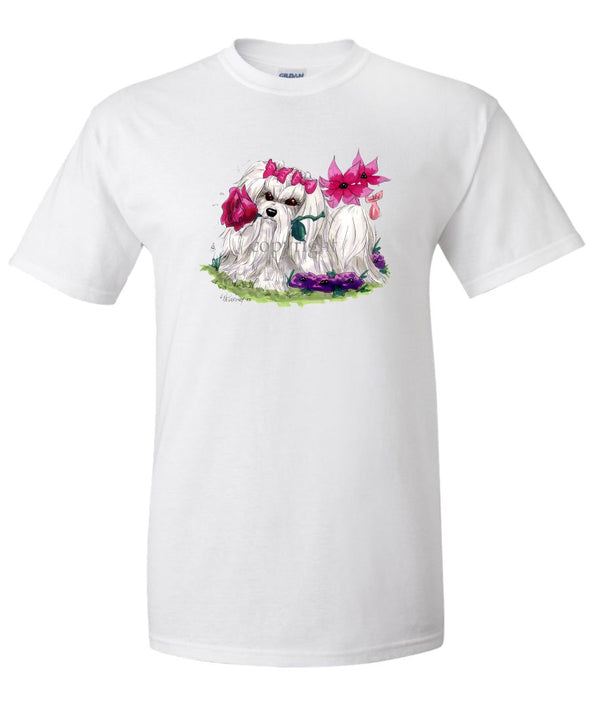 Maltese - With Flower - Caricature - T-Shirt