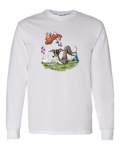 Italian Greyhound - Playing With Rabbit - Caricature - Long Sleeve T-Shirt