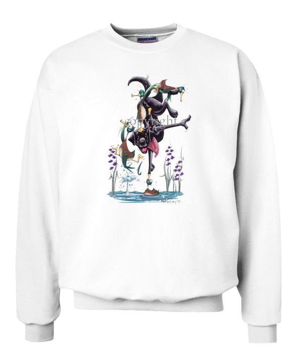 Labrador Retriever  Black - Hand Stand - Caricature - Sweatshirt