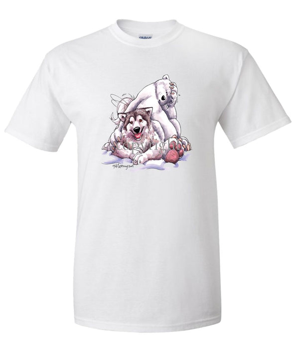 Alaskan Malamute - With-polar-bear - Caricature - T-Shirt