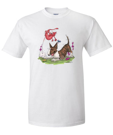 Bull Terrier  Brindle - Chasing Cat - Caricature - T-Shirt