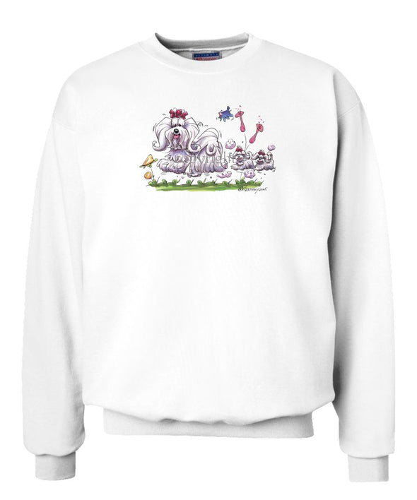Maltese - With Puppies - Caricature - Sweatshirt