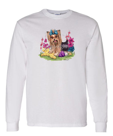 Yorkshire Terrier - Toys Turquoise Ribbon - Caricature - Long Sleeve T-Shirt