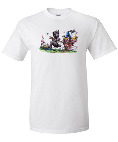 Bouvier Des Flandres - Pulling Cart With Puppies - Caricature - T-Shirt