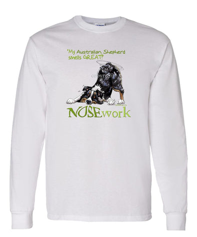 Australian Shepherd  Black Tri - Nosework - Long Sleeve T-Shirt