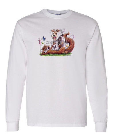 Wire Fox Terrier - Tickling Fox - Caricature - Long Sleeve T-Shirt