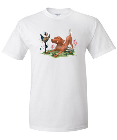 Vizsla - Grabbing Pheasants Tail - Caricature - T-Shirt