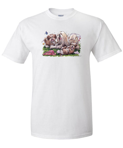 Lhasa Apso - With Puppies - Caricature - T-Shirt