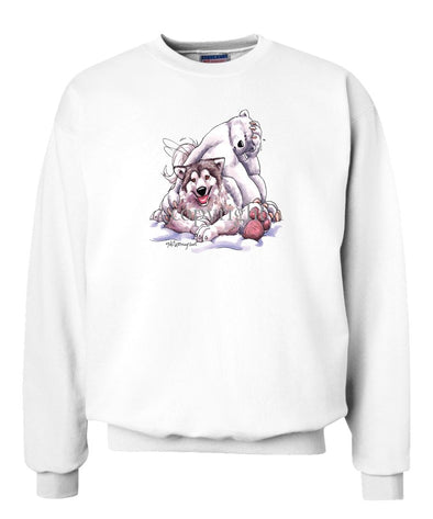 Alaskan Malamute - With-polar-bear - Caricature - Sweatshirt