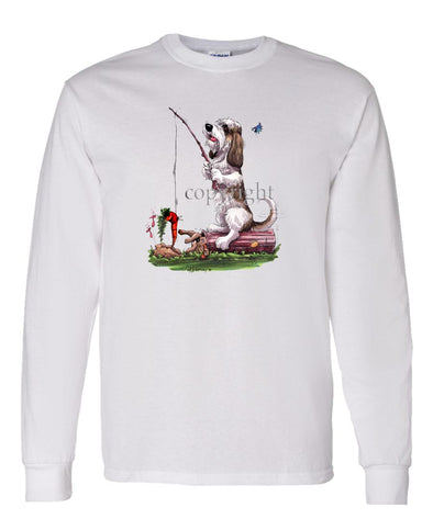 Petit Basset Griffon Vendeen - Fishing With Carrot - Caricature - Long Sleeve T-Shirt