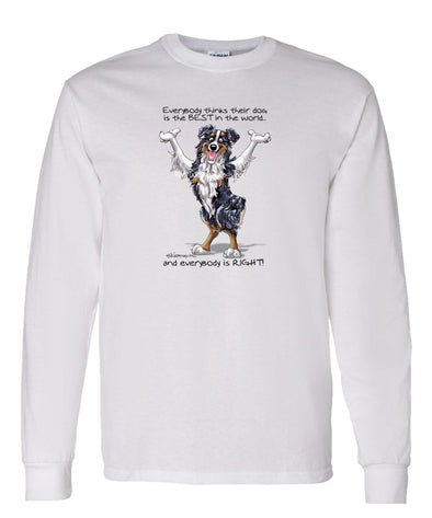 Australian Shepherd  Black Tri - Best Dog in the World - Long Sleeve T-Shirt