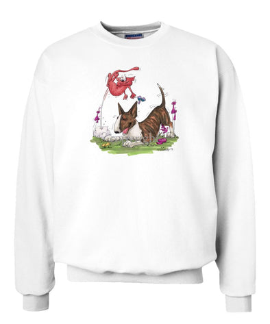Bull Terrier  Brindle - Chasing Cat - Caricature - Sweatshirt