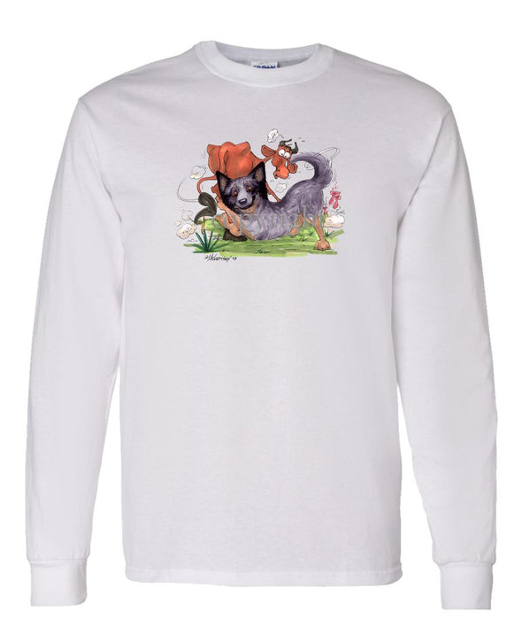 Australian Cattle Dog - Tackling Cow - Caricature - Long Sleeve T-Shirt