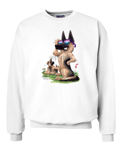 German Shepherd - Shades With Puppy - Caricature - Sweatshirt