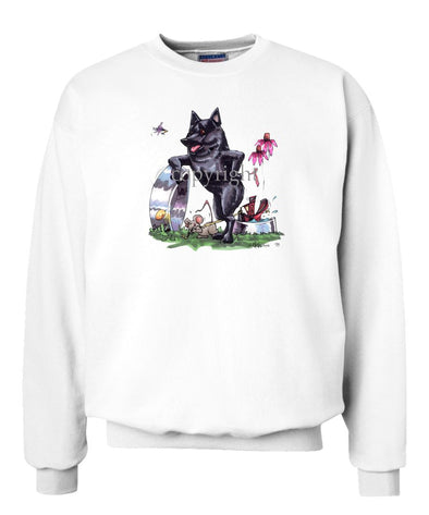 Schipperke - Standing With Dish - Caricature - Sweatshirt