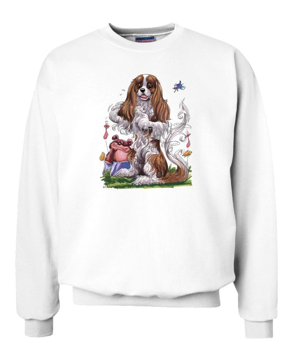 Cavalier King Charles - Sitting Teddy Bear - Caricature - Sweatshirt