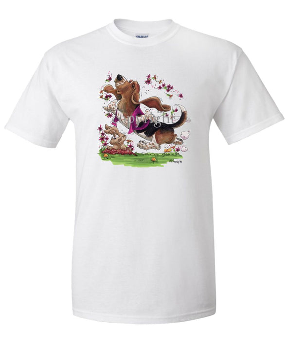 Basset Hound - Purple Vest Dancing In Flowers - Caricature - T-Shirt