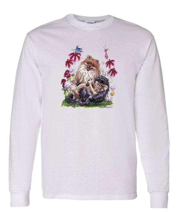 Pomeranian - Group Playing - Caricature - Long Sleeve T-Shirt