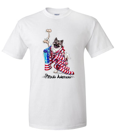 Norwegian Elkhound - Proud American - T-Shirt