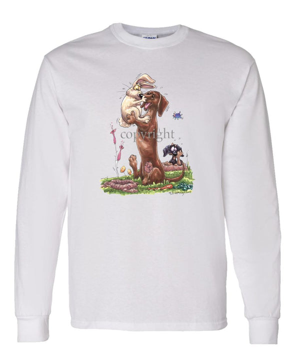 Dachshund  Smooth - Rabbit Kissing Nose - Caricature - Long Sleeve T-Shirt