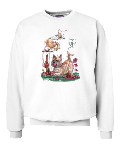 Cairn Terrier - Chasing Fox And Rabbit - Caricature - Sweatshirt