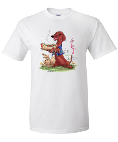Dachshund  Smooth - Hotdog - Caricature - T-Shirt
