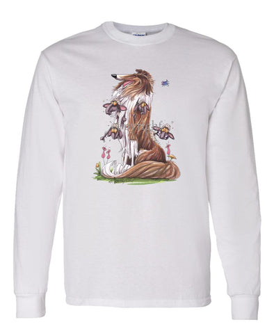 Collie - Sitting With Sheep In Fur - Caricature - Long Sleeve T-Shirt