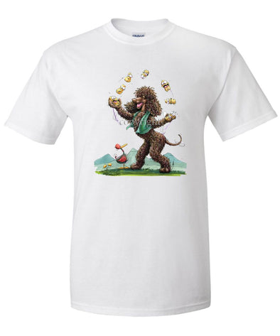 Irish Water Spaniel - Juggling Potatoes - Caricature - T-Shirt