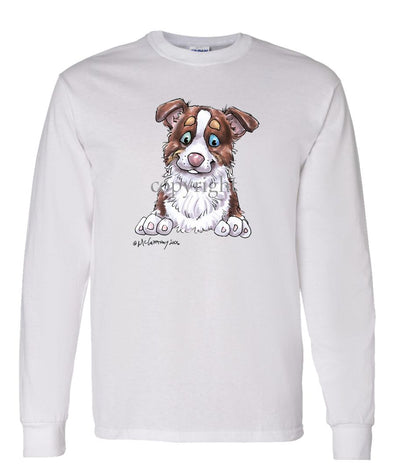 Border Collie  Red Tri - Puppy - Caricature - Long Sleeve T-Shirt