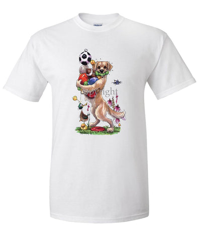 Golden Retriever - Holding Balls - Caricature - T-Shirt