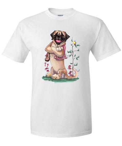 Mastiff - Sitting With Vest On - Caricature - T-Shirt