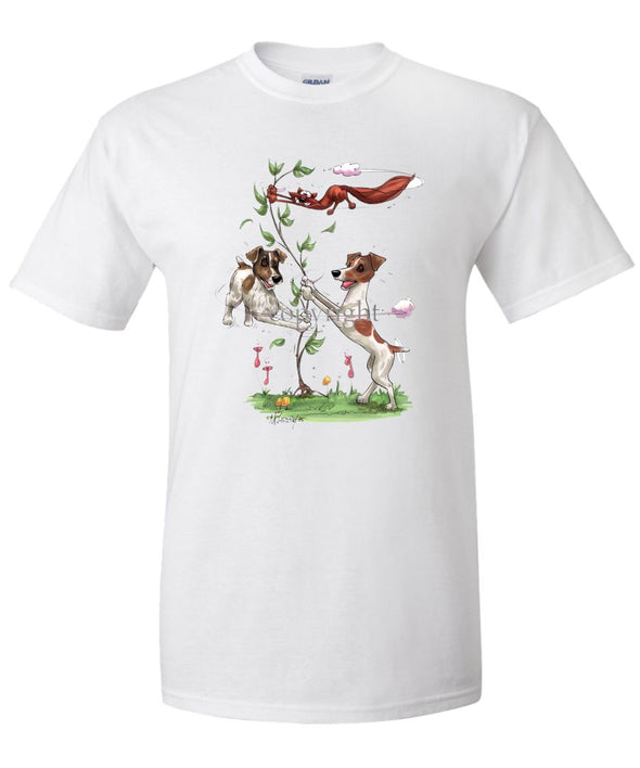 Jack Russell Terrier - Group Spinning Fox In Tree - Caricature - T-Shirt