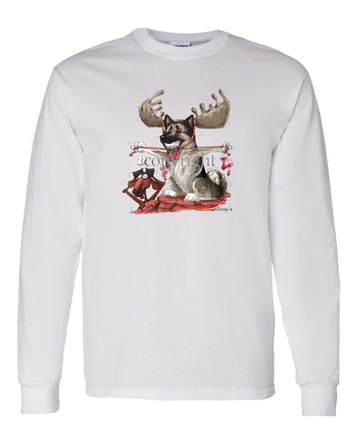 Norwegian Elkhound - With Antlers - Caricature - Long Sleeve T-Shirt