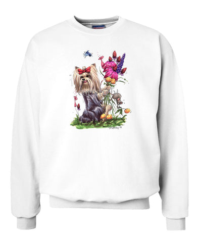 Yorkshire Terrier - Holding Flowers - Caricature - Sweatshirt