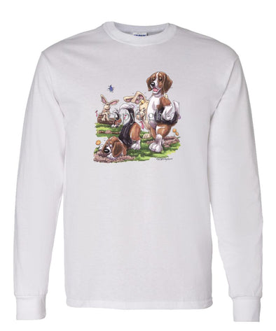 Beagle - Digging With Rabbits - Caricature - Long Sleeve T-Shirt