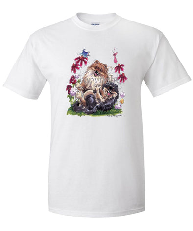 Pomeranian - Group Playing - Caricature - T-Shirt